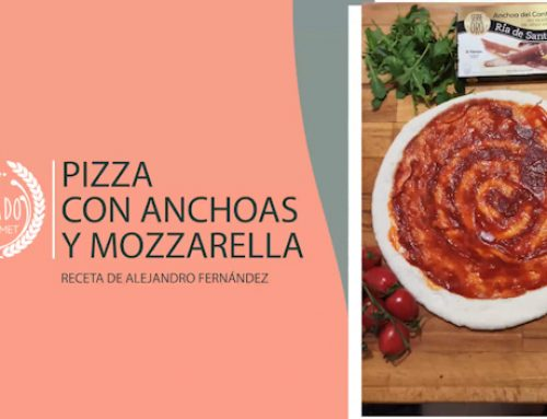 Pizza de anchoas y mozzarella